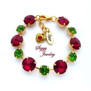 Swarovski Crystal Christmas Red and Green Bracelet